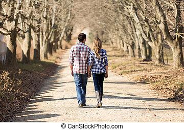 marche, campagne, couple, automne, tenant mains, vue postérieure