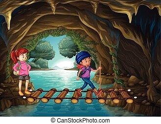 marche, caverne, deux, touristes