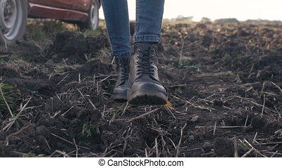 marche, chaussures, femmes, champ, long, girl
