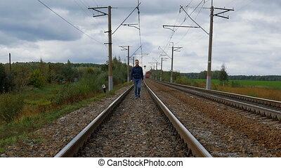 marche, chemin fer, homme