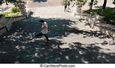 marche, chemise, danse, escalier, jeune, élégant, blanc,...