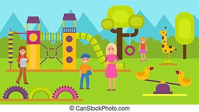 marche, childrens, area., girl, sport, enfants, secteur, jardin enfants, cour de récréation, complex., heureux, adolescent, jeu, jeu, prof, garçon, gosses école, illustration., mères, ou, vecteur, jouer