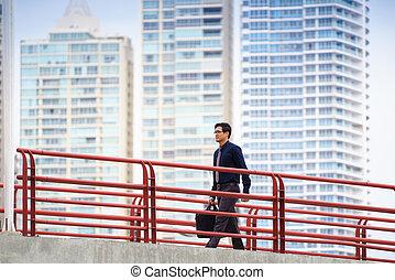 marche, chinois, travail bureau, ouvrier, asiatique, commuer