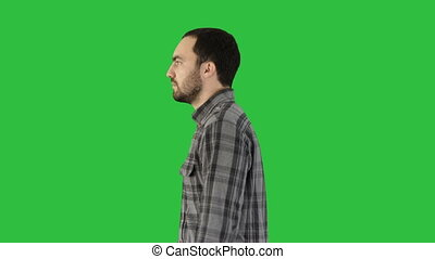 marche, chroma, écran, confiant, vert, key., en avant!, désinvolte, homme