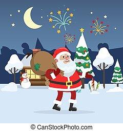 marche, claus, hiver, santa, forêt