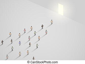 marche, concept, business, foule, gens, concept., door., illustration, étroit, éditorial