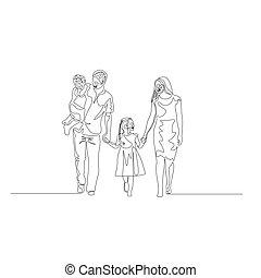 marche, concept, famille, continu, tient, père, une, arms., sien, tenue, ligne, fils, hands., heureux