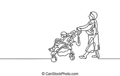 marche, continu, une, grand-mère, bébé, dessin ligne