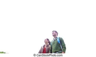 marche, couple, 6, dehors, sacs dos, heureux