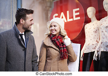 marche, couple, centre commercial, passage