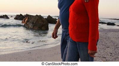 marche, couple, main, 4k, personne agee, plage