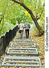 marche, couple, parc, automne, personne agee, heureux