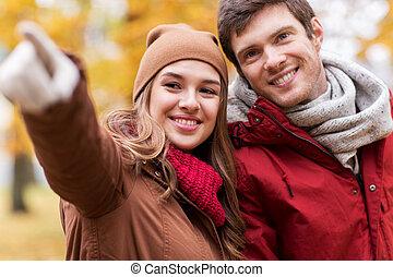marche, couple, parc, haut, automne, fin, heureux