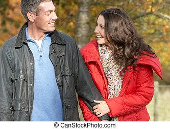 marche, couple, parc, jeune, automne, par