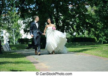 marche, couple, parc, jour, wedding., nouveau marié