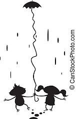 marche, couple, pluie, sous, dessin animé, heureux
