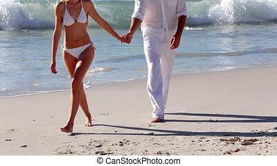 marche couples, séduisant, main, h