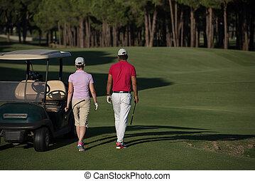 marche couples, sur, terrain de golf