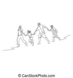 marche, course, famille, continu, une, tenant mains, ligne, rang