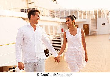 marche, croisière, couple, bateau, jeune