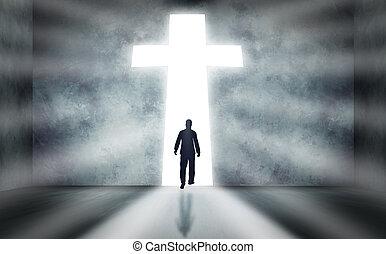 marche, croix, homme