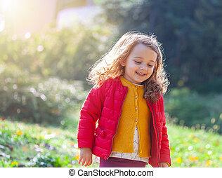 marche, day., parc, adorable, girl, peu, automne