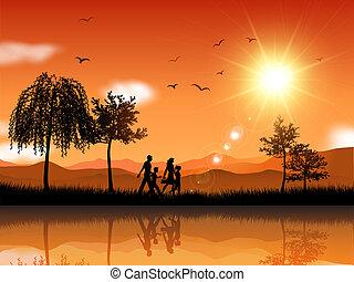 marche, dehors, famille
