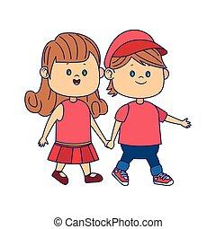 marche, dessin animé, girl, heureux, garçon, mignon