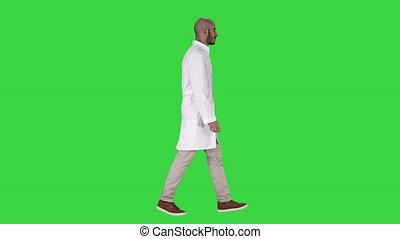 marche, docteur, chroma, écran, arabe, vert, key., blanc, robe