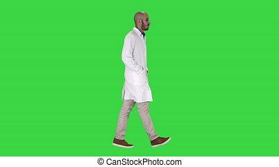 marche, docteur, chroma, écran, vert, key., poches, mains