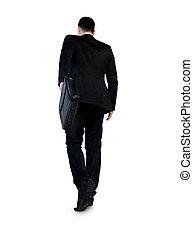 marche, dos, homme affaires