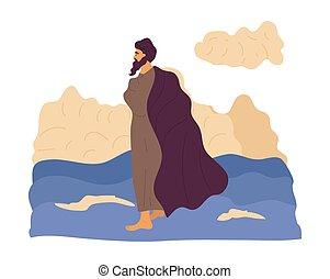 marche, eau, jésus