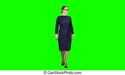 marche, elle, business, écran, onduler, vert, friends., dame