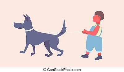 marche, enfant mâle, sien, mignon, peu, dessin animé, avoir, horizontal, chien, garçon, entiers, plat, longueur, amusement, caractère