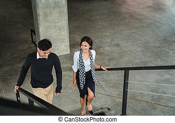 marche, escalier, bureau affaires, gens