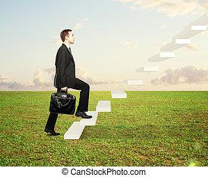 marche, escalier, homme
