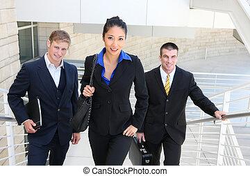 marche, escaliers haut, equipe affaires