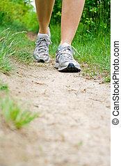 marche, exercice, dans, été