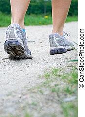 marche, exercice, dans, printemps