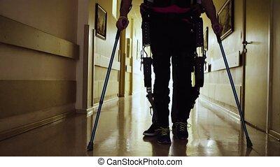 marche, exoskeleton, invalide, par, couloir, robotique, ...