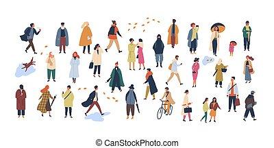 marche, extérieur, activities., foule, gens, automne, rue, groupe, habillé, isolé, minuscule, arrière-plan., blanc, plat, outerwear, hommes, dessin animé, femmes, illustration., exécuter, vecteur, ou, vêtements