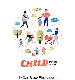 marche, extérieur, délassant, famille, gens, nature., parc, illustration, vecteur, parents, children., activity., heureux
