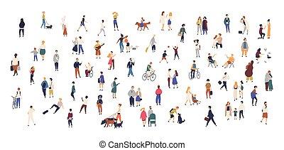 marche, extérieur, foule, gens, bicycles, running., enfants, ville, activités, minuscule, dessin animé, équitation, plat, chiens, coloré, hommes, rue., debout, femmes, illustration., conversation, exécuter, vecteur, ou