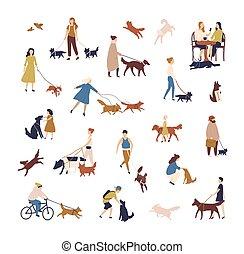 marche, extérieur, foule, gens, conjugal, style., groupe, arrière-plan., isolé, minuscule, leur, animaux familiers, blanc, chiens, activités, hommes, illustration, plat, rue., femmes, animaux, exécuter, vecteur, ou