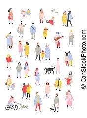 marche, extérieur, gens, hiver, habillé, isolé, minuscule, arrière-plan., noël blanc, porter, activités, outerwear, hommes, paquet, dessin animé, femmes, eve., illustration., exécuter, vecteur, vêtements
