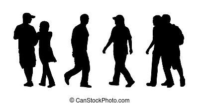 marche, extérieur, gens, silhouettes, ensemble, 4