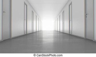 marche, fait boucle, couloir, business, doors., lumière, animation., ultra, interminable, par, 4k, fermé, 3840x2160, concept., technologie, fin, hd, 3d