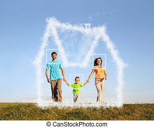marche, famille, à, garçon, et, rêve, nuage, maison, collage