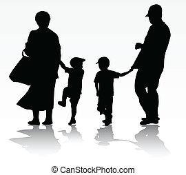 marche, famille, dehors