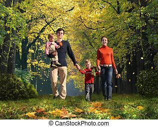 marche, famille deux enfants, dans, automnal, parc, collage